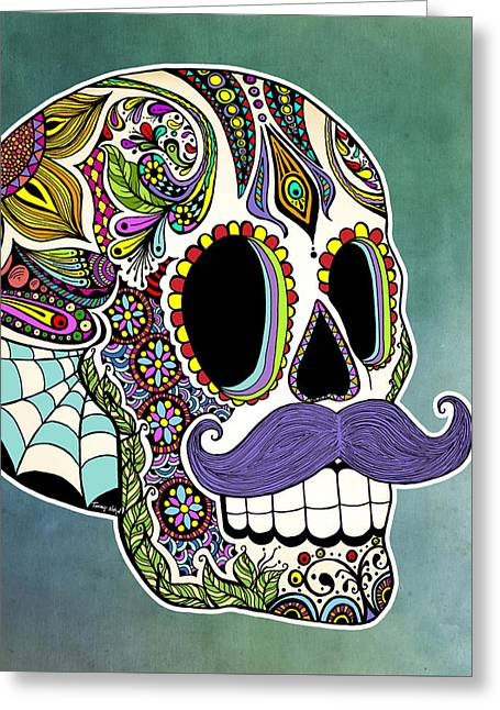 Mustache Sugar Skull Greeting Card