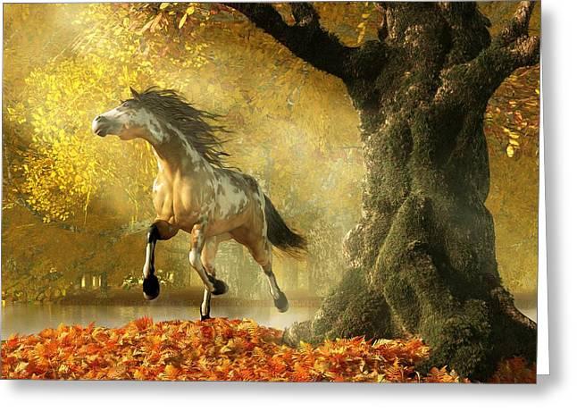 Mustang Autumn Greeting Card by Daniel Eskridge