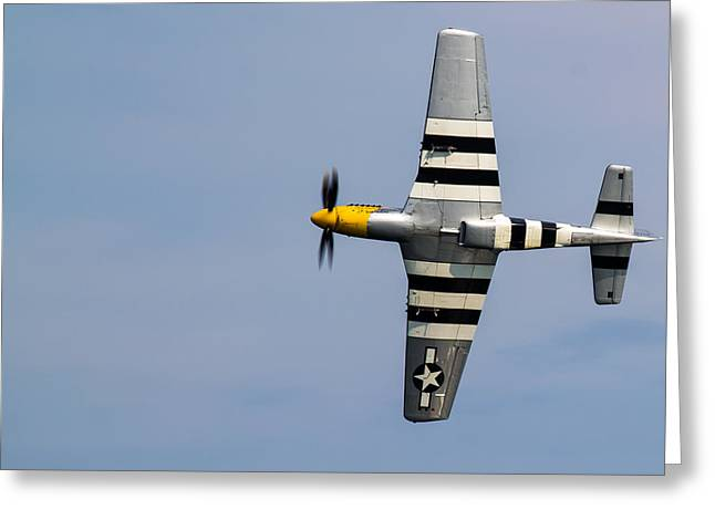 Greeting Card featuring the photograph Mustang Flyby D-day by Scott Lyons