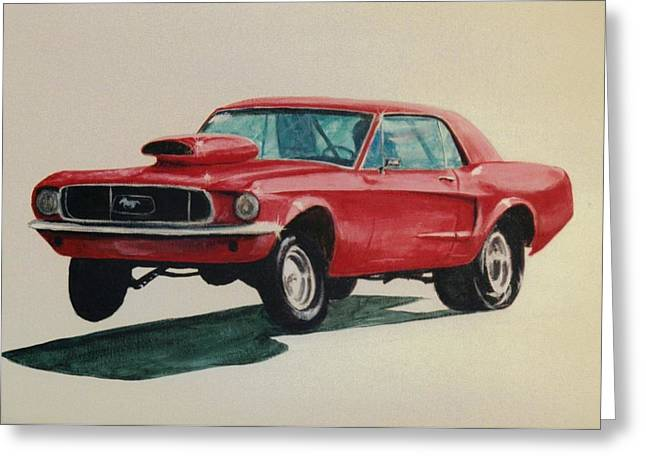 Mustang Launch Greeting Card by Stacy C Bottoms