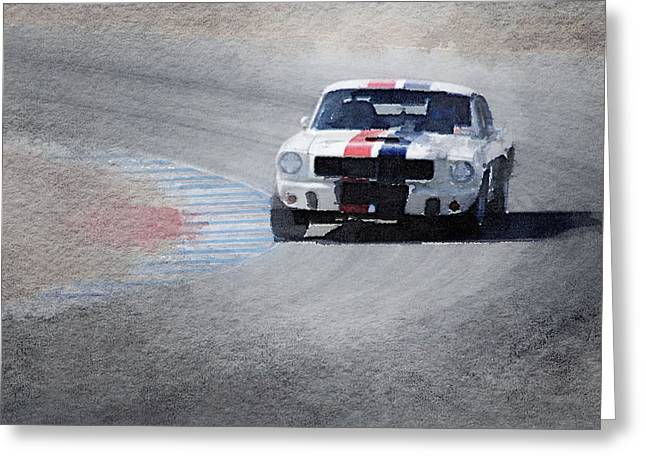Mustang On Race Track Watercolor Greeting Card by Naxart Studio