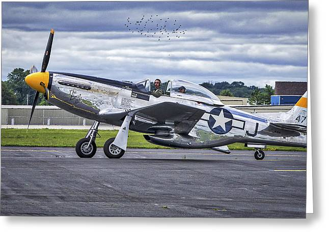 Mustang P51 Greeting Card by Steven Ralser