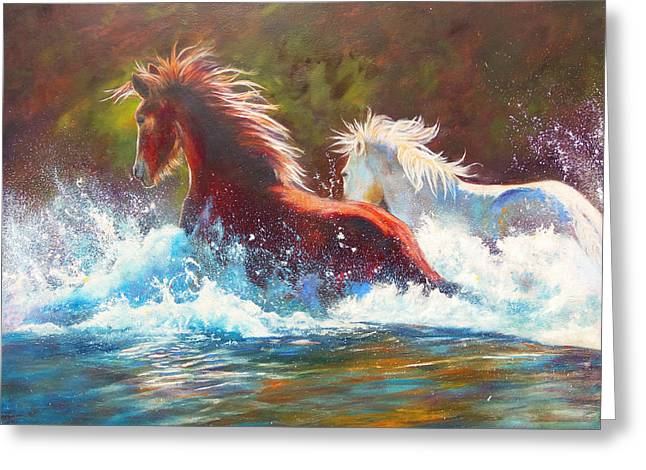 Mustang Splash Greeting Card
