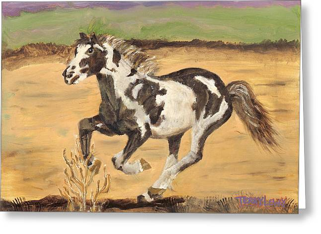 Mustang Greeting Card by Terry Lewey