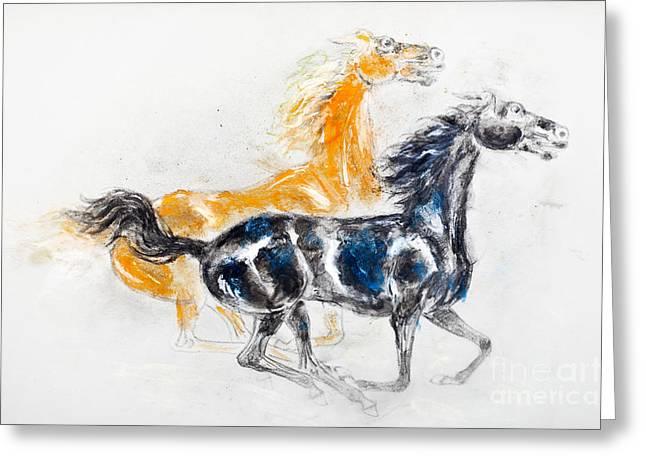 Mustangs Greeting Card by Kurt Tessmann