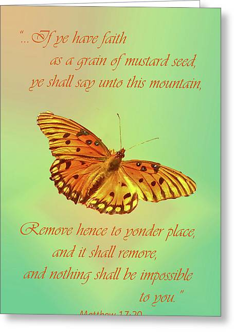 Mustard Seed Faith Greeting Card by Larry Bishop