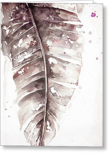 Muted Watercolor Plantain Leaves I Greeting Card by Patricia Pinto