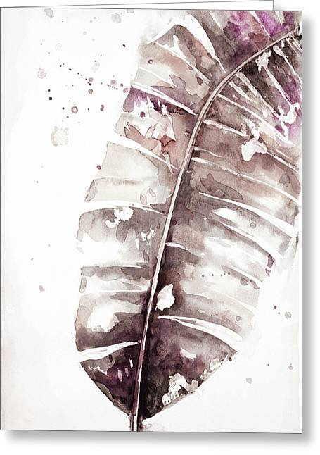 Muted Watercolor Plantain Leaves II Greeting Card by Patricia Pinto