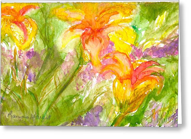 Muti-colored Flowers Greeting Card by Ramona Wright