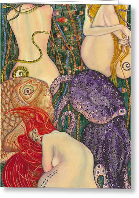 My Acrylic Painting Inspired By Klimt - Goldfish - Beethoven Frieze - Jurisprudence Final State - Greeting Card by Elena Yakubovich