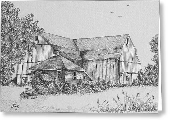 Greeting Card featuring the drawing My Barn by Gigi Dequanne