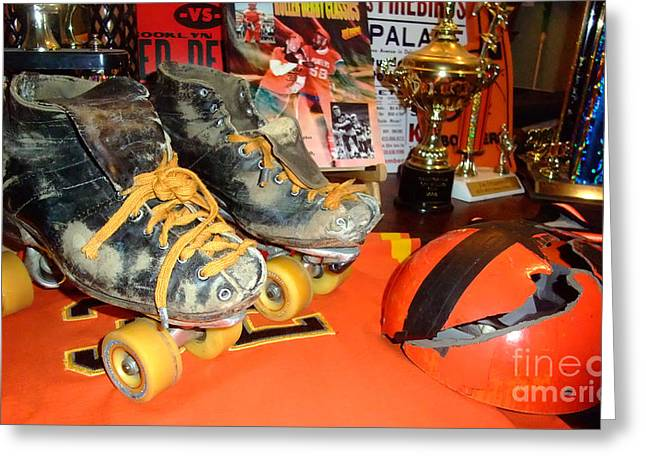 My Battle Scarred Roller Derby Skates And Helmet   Greeting Card by Jim Fitzpatrick