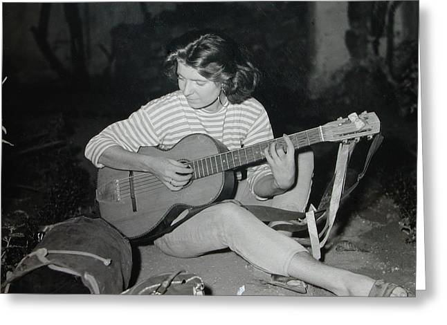 My Beloved Mum Chris On World Travels In The Fifties With Guitar Gitana And Pappa Hans  Greeting Card by Colette V Hera  Guggenheim