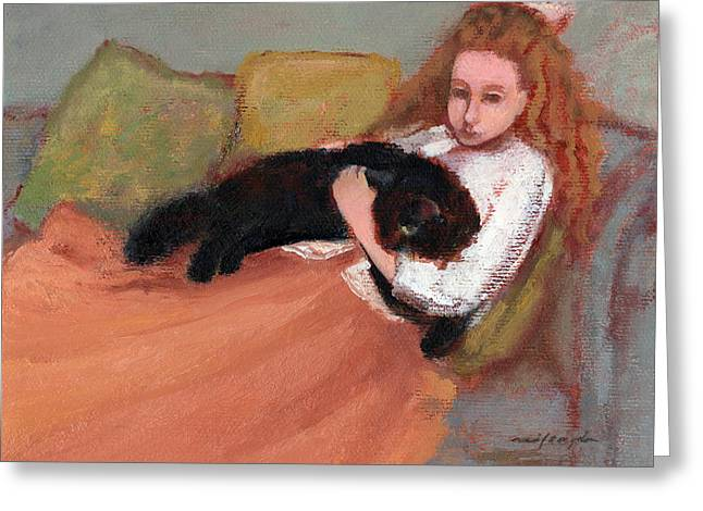 My Black Cat Greeting Card by J Reifsnyder