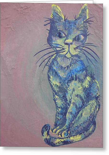 My Blue Cat Greeting Card by Cherie Sexsmith