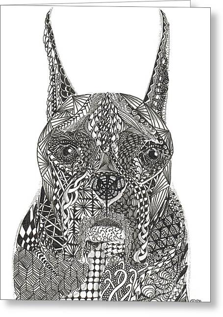 My Buddy - Boxer Greeting Card by Dianne Ferrer