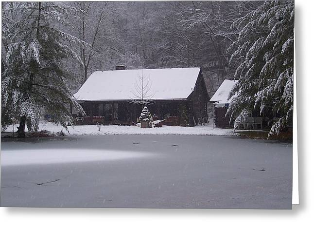 Greeting Card featuring the painting My Cabin In Winter by Brady Harness