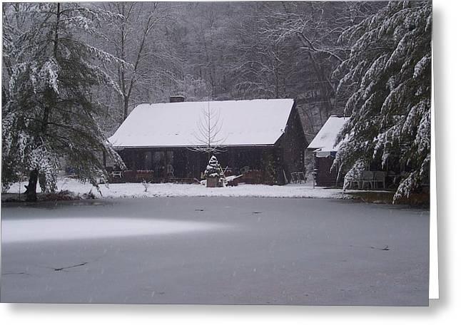My Cabin In Winter Greeting Card by Brady Harness
