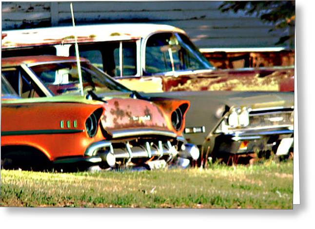 Greeting Card featuring the digital art My Cars by Cathy Anderson