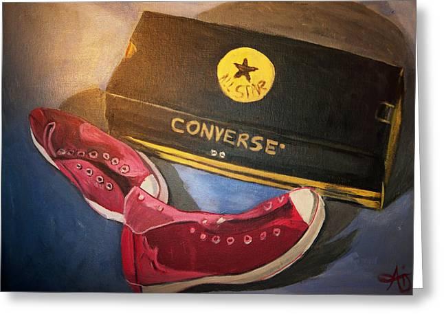My Chucks - Pink Converse Chuck Taylor All Star - Still Life Painting - Ai P. Nilson Greeting Card