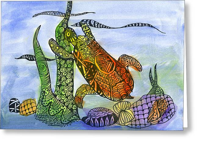 My Coastal Turtle By Raj Kashikar 3rd Grade Greeting Card
