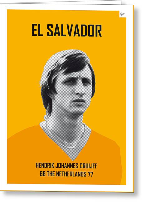 My Cruijff Soccer Legend Poster Greeting Card by Chungkong Art