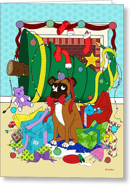 My Dog Ate Christmas Greeting Card by Shawna Rowe