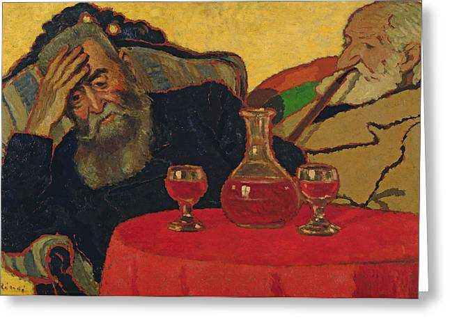 My Father With Uncle Piacsek Drinking Red Wine, 1907 Greeting Card