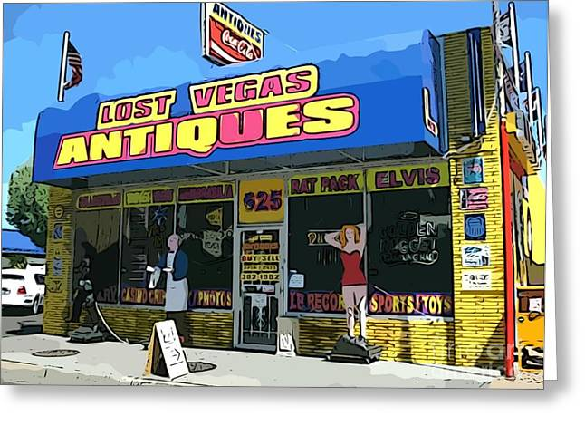 My Favorite Vegas Antique Store Greeting Card by John Malone