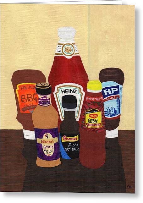 My Favourite Sauces Greeting Card by Bav Patel