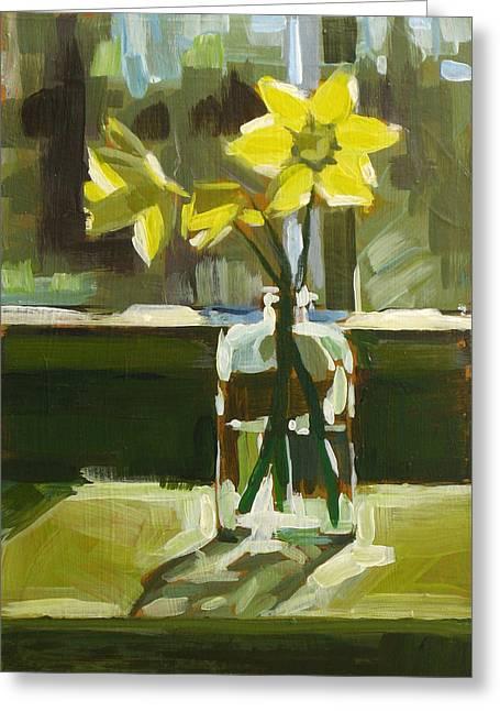 My First Daffodils Greeting Card by Annie Salness