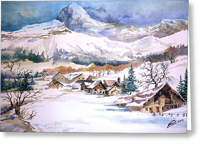 My First Snow Scene Greeting Card by Alban Dizdari