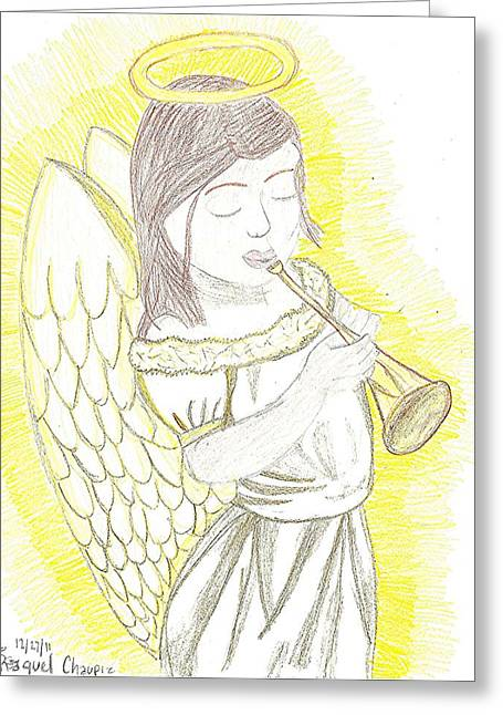 Greeting Card featuring the drawing My Guardian Angel by Fred Hanna