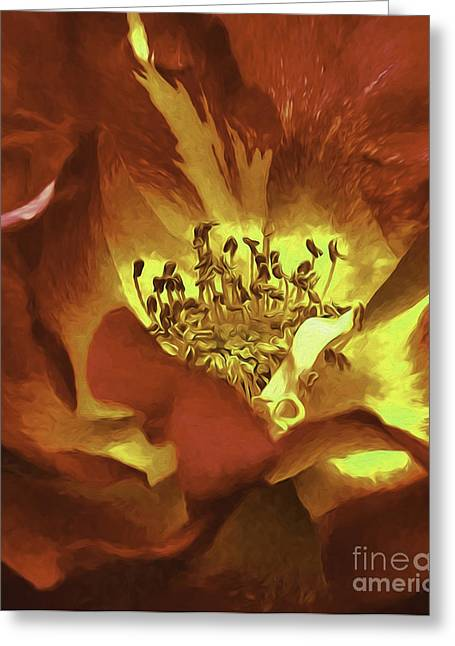My Heart Inflamed Greeting Card by Nancy Marie Ricketts