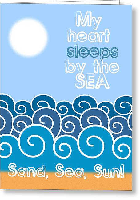 My Heart Sleeps By The Sea Minimalist Poster Greeting Card