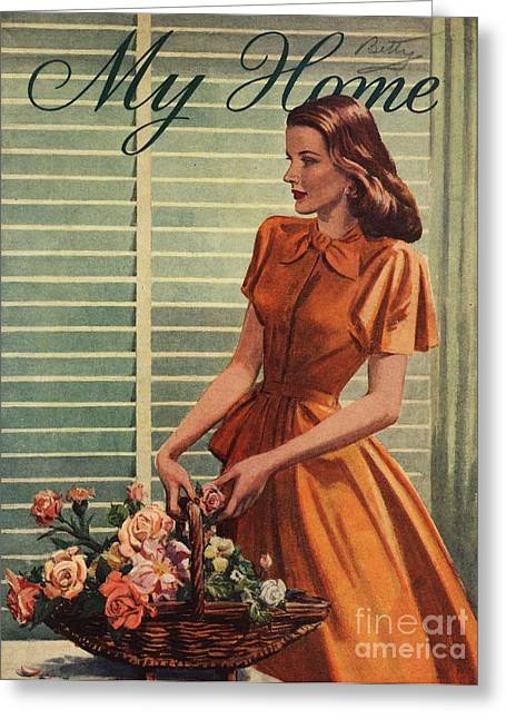 My Home 1940s Uk Womens Flowers Greeting Card by The Advertising Archives