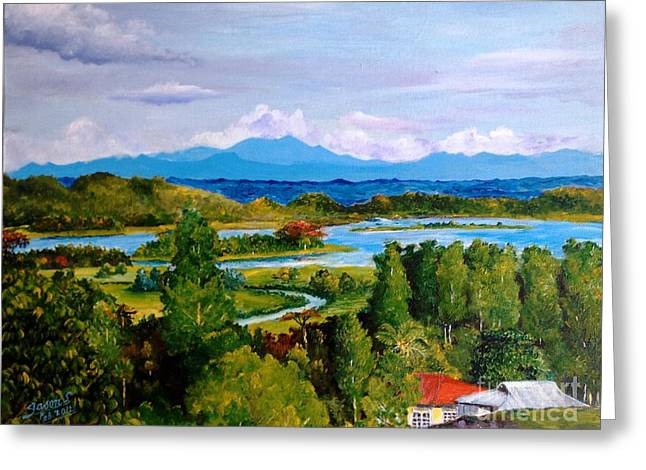 Greeting Card featuring the painting My Homeland by Jason Sentuf