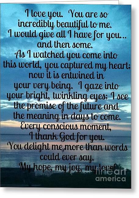 My Hope My Joy My Love Greeting Card