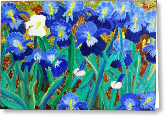 My Iris - Inspired  By Vangogh Greeting Card by Margaret Harmon