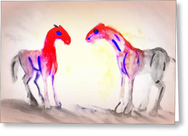We Are Painting The Horses Because There Are A Lot Of Things We Can't Say To Anyone  Greeting Card by Hilde Widerberg
