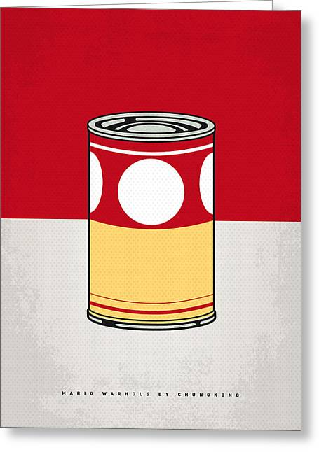 My Mario Warhols Minimal Can Poster-mushroom Greeting Card by Chungkong Art