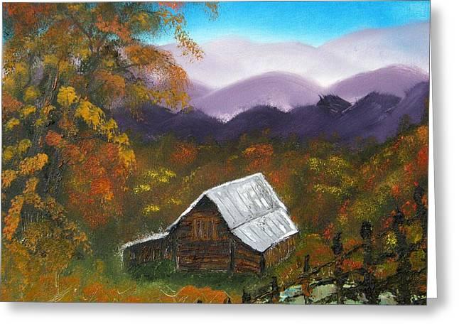 My Neighbors Barn Big Sandy Mush Nc Greeting Card by Margaret G Calenda