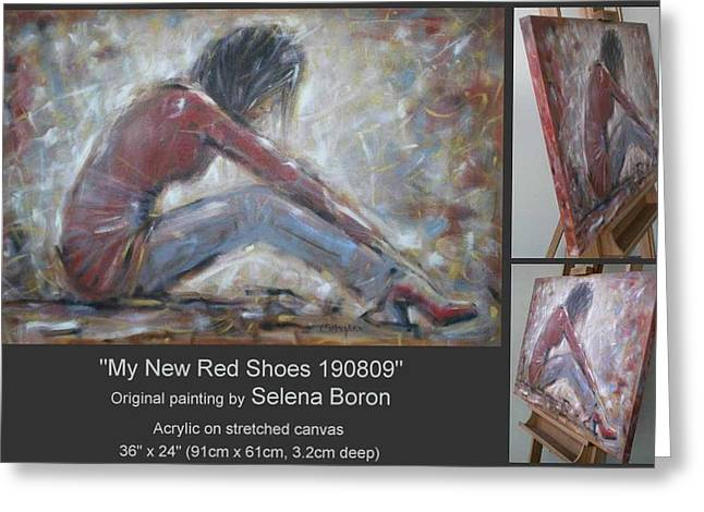 Greeting Card featuring the painting My New Red Shoes 190809 by Selena Boron