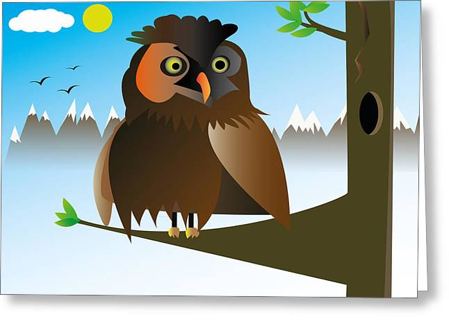 My Owl Greeting Card by Kenneth Feliciano