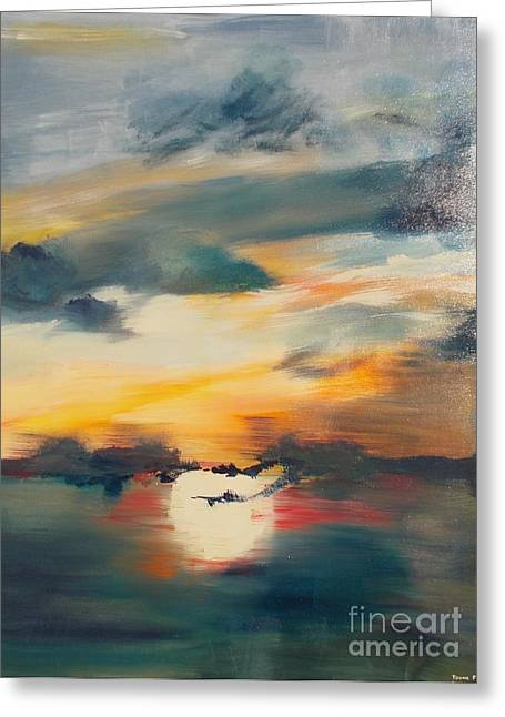 Greeting Card featuring the painting My Paradise Sunrise by PainterArtist FIN