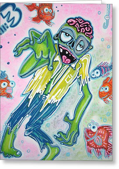My Pet Zombie #3 / Fish Bait Greeting Card by Laura Barbosa