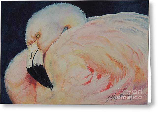 My Pink Flamingo...sold  Greeting Card