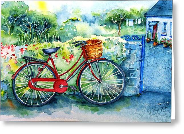 My Red Bicycle Greeting Card by Trudi Doyle