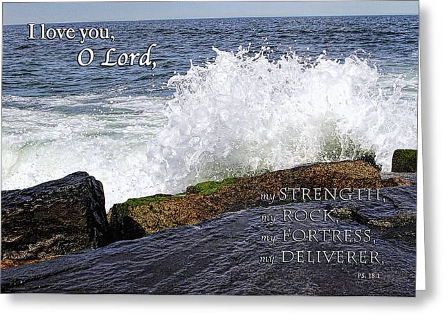 My Rock And My Fortress Psalm 18 Greeting Card by Eleanor Abramson