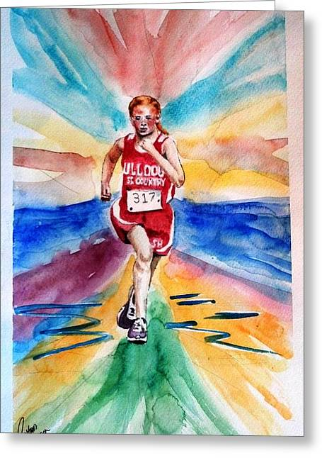 My Sarah Running Cross Country Greeting Card by Richard Benson